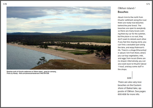 Baikal lake guide book page