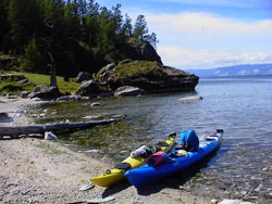 Kayaks at Baikal lake, photo by WayToRussia.Net