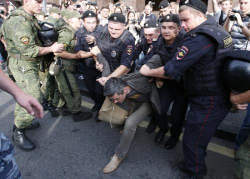 Police against the protest movement in Moscow