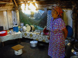 An Altay woman in traditional Altai house - Ayul
