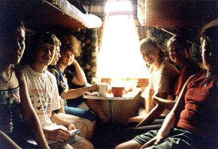 People on the Trans-Siberian train in Russia