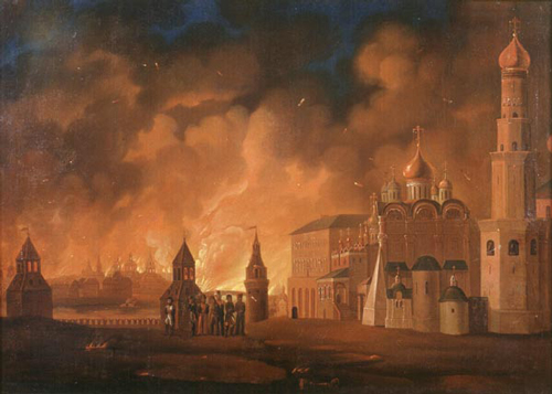 Infamous Moscow Fire of 1812 - painting by A.Smirnov (1810s) /wiki