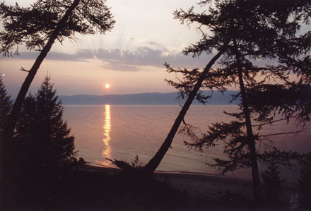Baikal lake in Russia, sunset