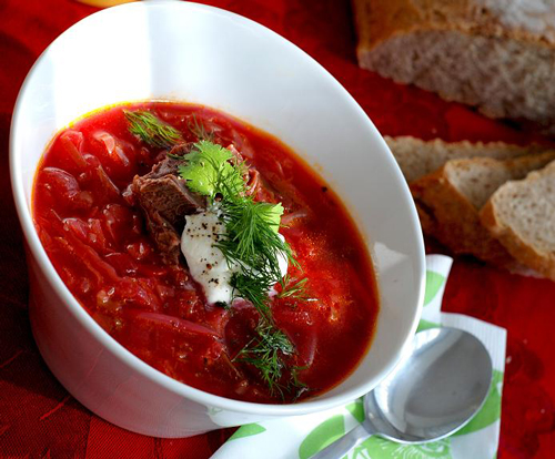 Russian borsch soup