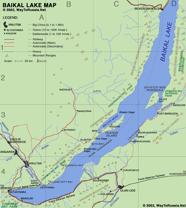 Map of Baikal Lake Way to Russia Guide