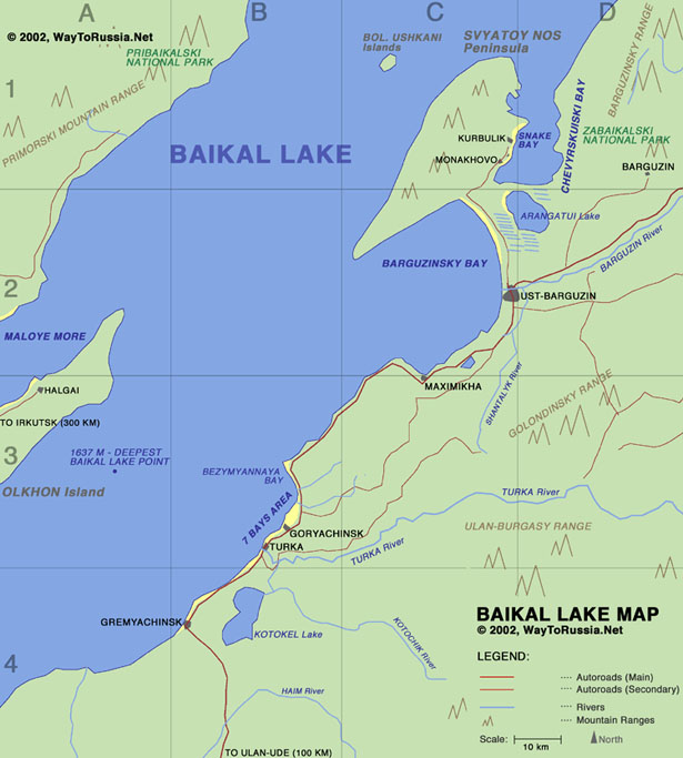 Lake Baikal Map Map of Buryatian Side of Baikal Lake   Way to Russia Guide Lake Baikal Map