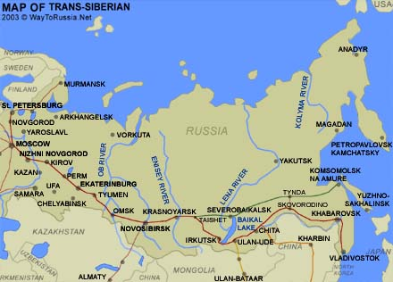 Map of the Trans-Siberian railway